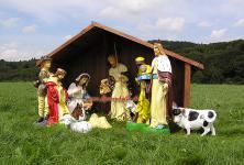 Große Krippenfiguren mit Holz Krippen Haus und Tieren Figuren Statue Außenbereich
