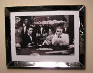 Wandbild Spiegelrahmen James Bond 007 im Casino Schwarz weiß Druck Bild Poster