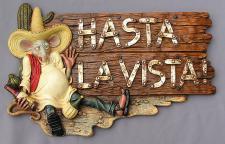 Mexikaner Maus Hasta la Vista Asta Schild Restaurant Werbung Deko