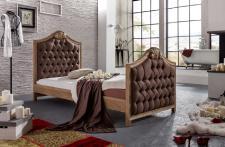 Bett im Chesterfield Eiche Massiv Art Deco Stil