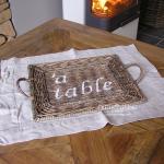 Tisch Set Rattan mit Schriftzug