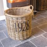 Rattan Korb Rund 1928 Feuerholz Korb für Kamin Ofen