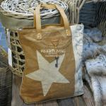Beige Handtasche mit Stern Motiv im Shabby Chic Look