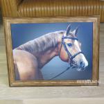 Pferdekopf Wandbild in braunem Holz Bilderrahmen