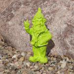 Gartenzwerg in grün mit Stinkefinger Mittelfinger als Deko für Haus und Garten