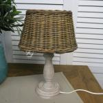 Rattan Lampenschirm oval Tischleuchte Shabby Chic Mission Style