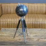Globus schwarz auf Stativfuß Aluminium Deko Büro Antik Art Deco