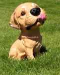 LUSTIGER Big Head Hund als Fan Figur Statue Skulptur Deko