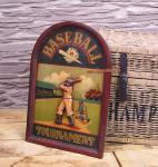 Antik Baseball Schild Wandbild Deko Holz Nostalgie Sport Bar