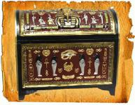 Ägyptische Truhe als Dekoration Figur Deko Möbel