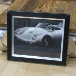 Wandbild Fotodruck Porsche 550 Schwarz weiß 1950er Oldtimer Racing
