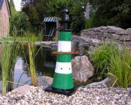 Leuchtturm grün weiß Dekoration Maritime Deko Garten
