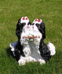 Shuh Tzu Figur Spielendes Hundepärchen mit Schleife