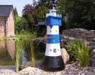 Leuchtturm Roter Sand in blau weiß Garten Maritim Deko Dekoration