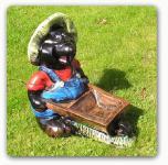 Maulwurf Schubkarre Gartenfigur Dekofigur
