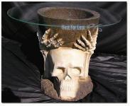 Totenkopf Tisch Möbel Skelett Skull Figur Statue