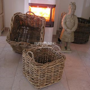 Feuerholz Rattan Korb grob Korbgeflecht Deko stabiler