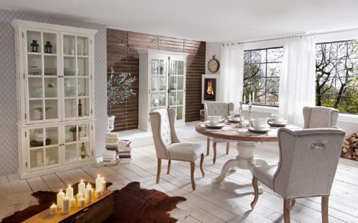 Vitrinenschrank hoch weiß Nostalgie Landhaus Möbel - Vorschau 3