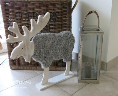 Elch Figur Statue Skulptur Holz Wolle Shabby Chic Winter Deko