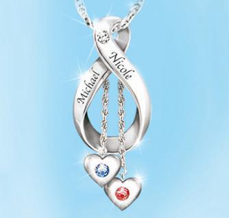 Personalisierter Diamant Anhänger Unendliche Liebe aus 925er Sterling-Silber