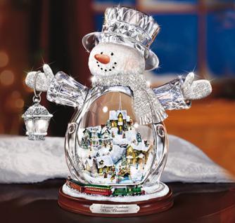 Beleuchtete Weihnachtsfigur Kinkade Kristall Schneemann - Vorschau 1