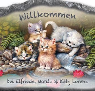 Personalisierte Willkommenstafel mit bezaubernden Katzenmotiven - Schnurrige Willkommensgrüße - Vorschau 2