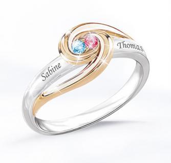 Personalisierter Ring mit Geburtssteinen Für immer zusammen