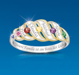 Personalisierter Ring aus 925er Sterling Silber Familie Kreis der Liebe
