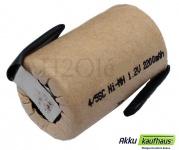 4/5 Sub-C 2200mAh NiMH Einzelzelle 1, 2 Volt mit Lötfahnen im Pappmantel