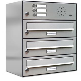 3er edelstahl briefkasten anlage mit klingel taster kaufen bei al briefkastensysteme. Black Bedroom Furniture Sets. Home Design Ideas
