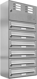 6er edelstahl briefkasten anlage mit klingel taster kaufen bei al briefkastensysteme. Black Bedroom Furniture Sets. Home Design Ideas