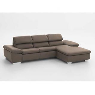 Ecksofa in kunstleder taupe kaufen bei lifestyle4living for Ecksofa taupe