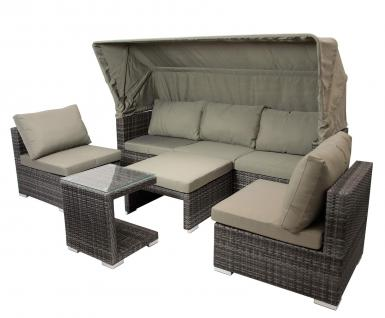 Funktions- Loungeset in grauem Polyrattan