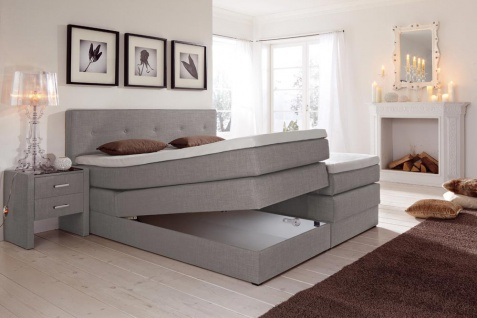 boxspringbett in webstoff grau meliert kaufen bei lifestyle4living m belvertrieb gmbh co kg. Black Bedroom Furniture Sets. Home Design Ideas
