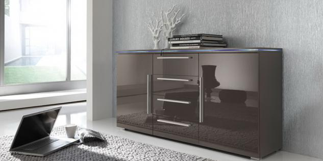 sideboard hochglanz grau g nstig kaufen bei yatego. Black Bedroom Furniture Sets. Home Design Ideas