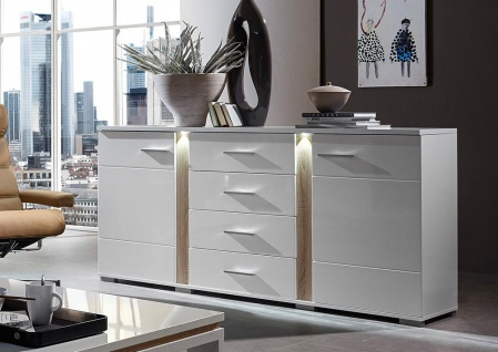sideboard wei hochglanz abs sonoma eiche hell kaufen bei lifestyle4living m belvertrieb. Black Bedroom Furniture Sets. Home Design Ideas