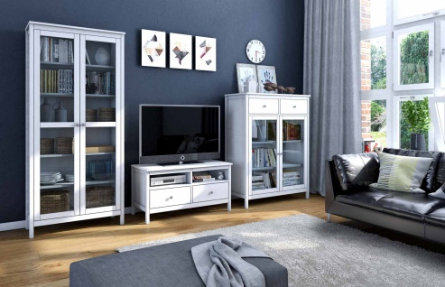 landhausstil wohnwand weiss g nstig online kaufen yatego. Black Bedroom Furniture Sets. Home Design Ideas