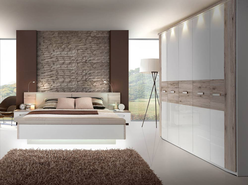 schlafzimmer in sandeiche und weiss hochglanz kaufen bei lifestyle4living m belvertrieb gmbh. Black Bedroom Furniture Sets. Home Design Ideas