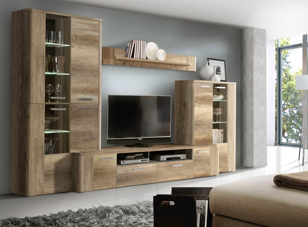 4 tlg anbauwand in eiche antik nachbildung kaufen bei. Black Bedroom Furniture Sets. Home Design Ideas