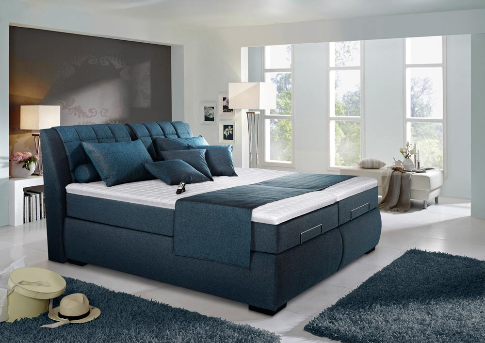 boxspringbett in blau schwarz elektrisch kaufen bei. Black Bedroom Furniture Sets. Home Design Ideas