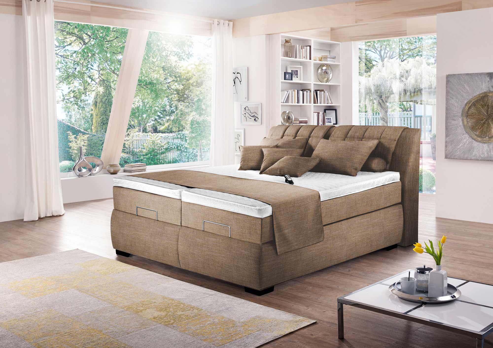 boxspringbett in beige braun elektrisch kaufen bei lifestyle4living m belvertrieb gmbh co kg. Black Bedroom Furniture Sets. Home Design Ideas