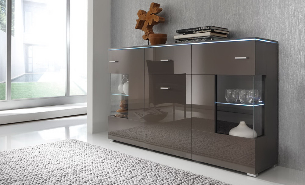 sideboard hochglanz grau kaufen bei lifestyle4living m belvertrieb gmbh co kg. Black Bedroom Furniture Sets. Home Design Ideas
