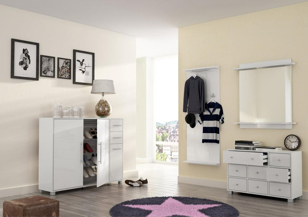 4 tlg garderoben set hochglanz wei kaufen bei. Black Bedroom Furniture Sets. Home Design Ideas