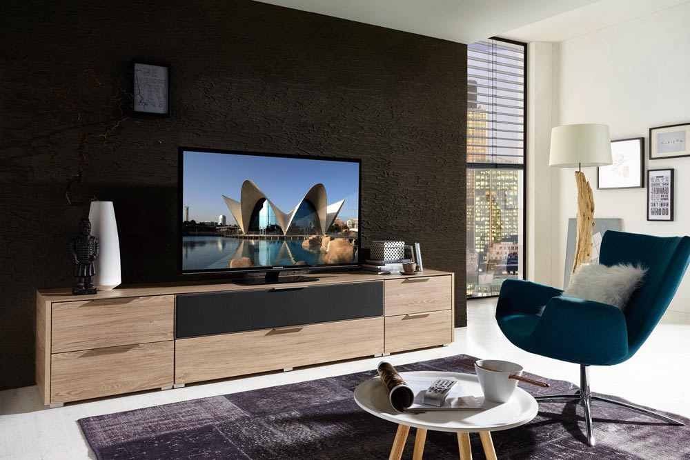 tv lowboard tv board eiche nb grau kaufen bei. Black Bedroom Furniture Sets. Home Design Ideas
