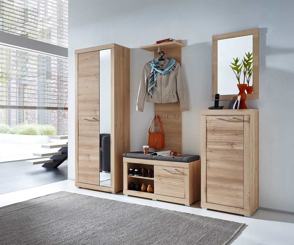 5 tlg garderobe buche hell nb abs geriffelt kaufen bei lifestyle4living m belvertrieb gmbh. Black Bedroom Furniture Sets. Home Design Ideas