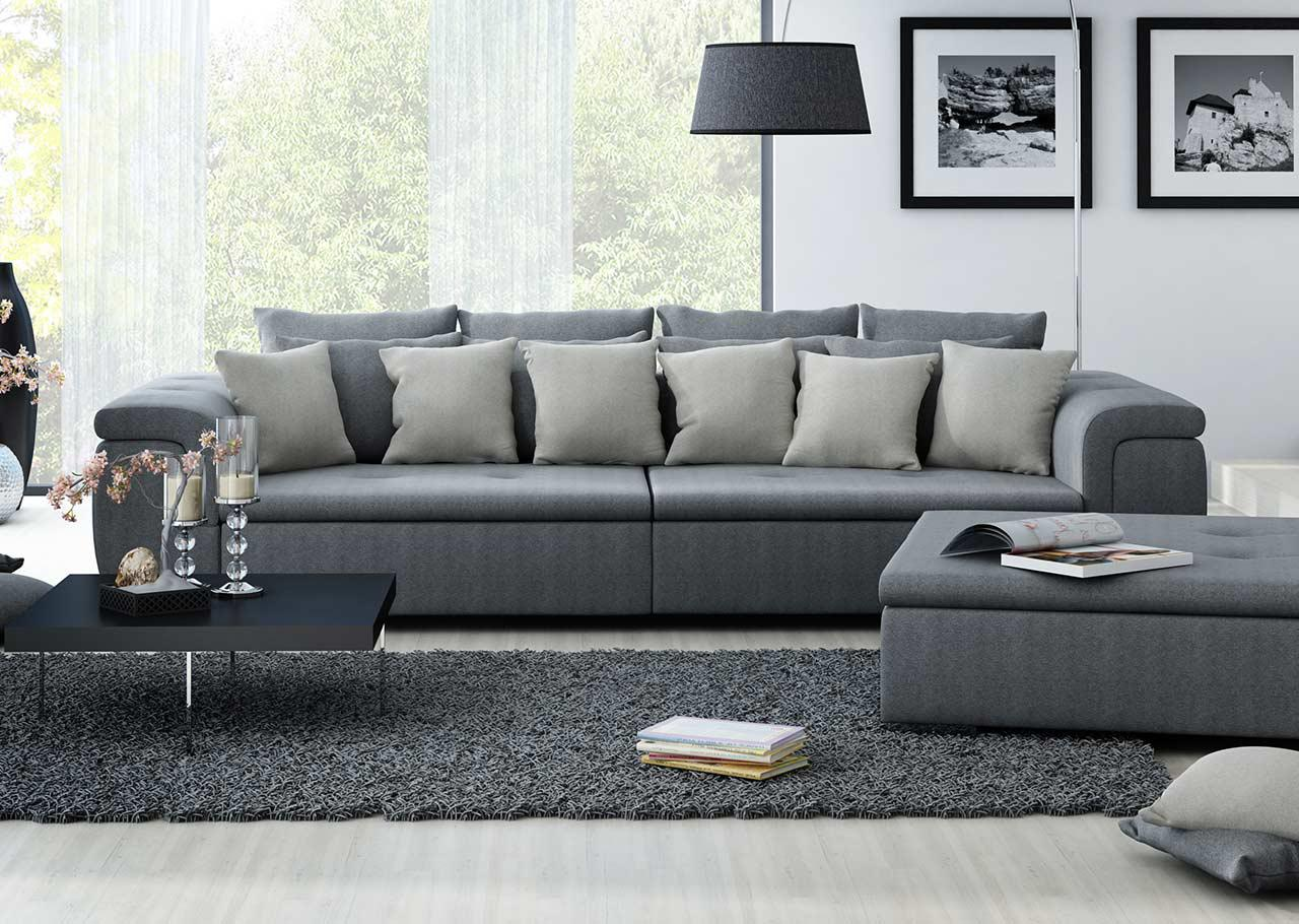 big sofa mit einem feinem webstoff in grau kaufen bei lifestyle4living m belvertrieb gmbh co kg. Black Bedroom Furniture Sets. Home Design Ideas