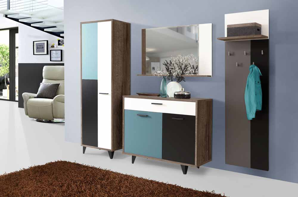 garderobe schlammeiche petrol grau schwarz wei kaufen bei lifestyle4living m belvertrieb gmbh. Black Bedroom Furniture Sets. Home Design Ideas