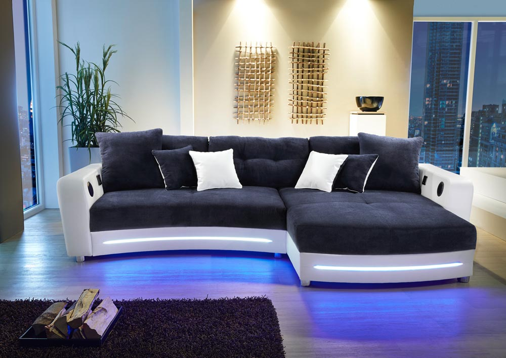 ecksofa in blau wei kaufen bei lifestyle4living. Black Bedroom Furniture Sets. Home Design Ideas