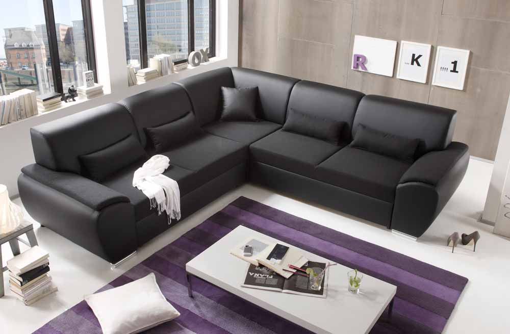 ecksofa schwarz kunstleder g stebett kaufen bei. Black Bedroom Furniture Sets. Home Design Ideas
