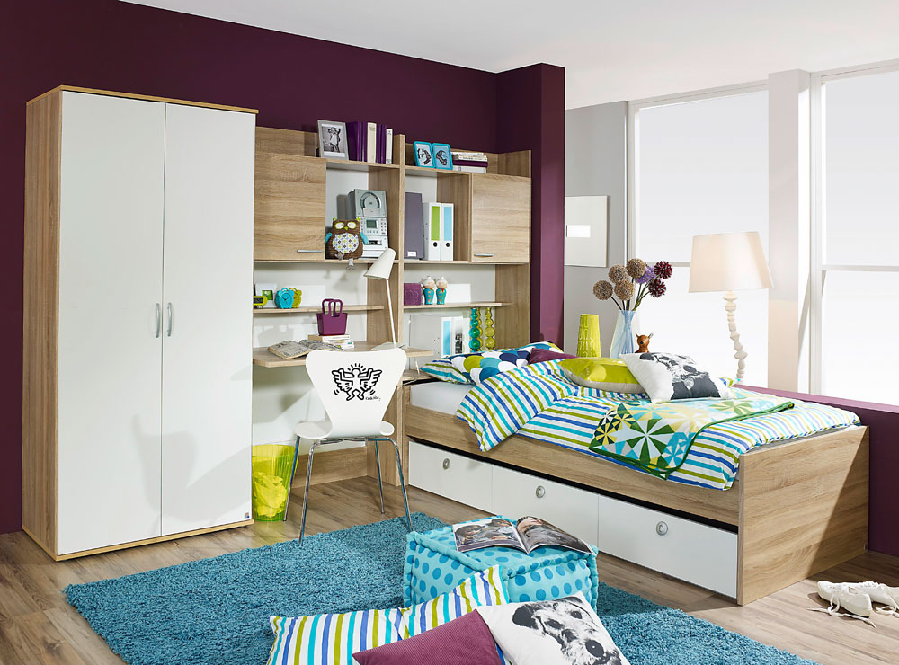 jugendzimmer in eiche sonoma s gerau kaufen bei lifestyle4living m belvertrieb gmbh co kg. Black Bedroom Furniture Sets. Home Design Ideas